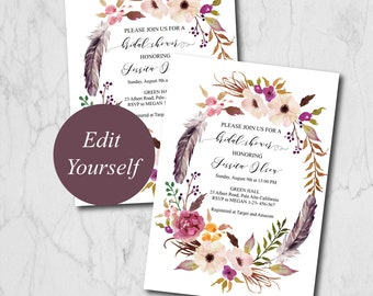 Boho Bridal Shower Invitation Template, Bridal Shower Invites, Bridal Shower Invitation Printable, Editable Bridal Shower Invites 110