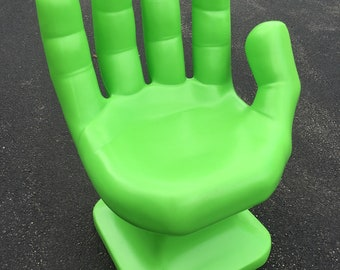 """Neon/Lime Green Hand Shaped Chair 32"""" adult 70's Retro EAMES iCarly NEW"""