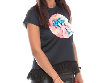 Cotton top with Stamp and tulle basquine/Tee Women/Graphic Tee/Fashion Tshirt/Fashion tee/Glamour T-shirt/Charming Tee 026