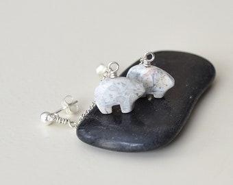 Polar Bear Earrings, Polar Bear Jewelry, White Bear Earrings, Stone Bear Earrings