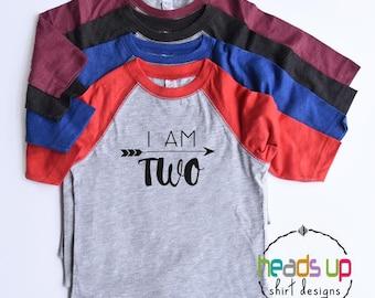 Second Birthday Shirt Toddler Boy/Girl - I Am Two Raglan Shirt -  - 2nd Bday Tee Kids - Trendy Two Birthday tshirt Boy/Girl - Gift - Hipster