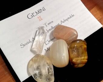 Gemini Zodiac Astrological Crystal Gemstone Gift Set, Clear Quartz Crystal, Citrine, Tiger Eye, Moonstone, Agate