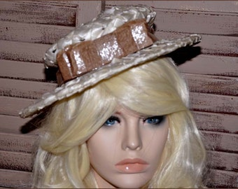 Ivory Cellophane Straw Hat, Ivory Wide Brimmed Hat, Ivory Straw Hat, Ivory Cello Hat, Ladies Straw Hat, Ivory Hat