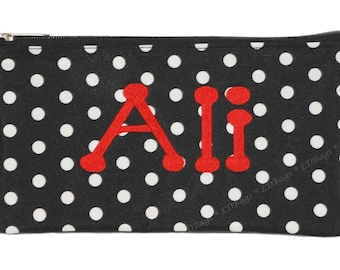 Black with White Polka Dot Cosmetic Case