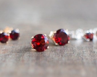Garnet Studs - January Birthstone
