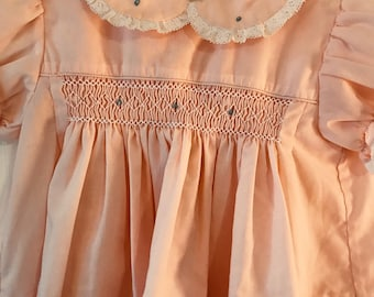 6-9 month, Peach Smocked Dress with Rosebuds