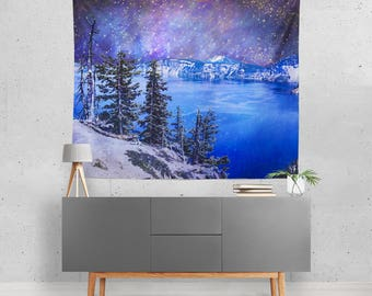 Outer Space Wall Tapestry, Milky Way Mountains, Celestial Decor, Crater Lake Oregon, Starry Sky Tapestry, Science Fiction Art, Surreal Decor