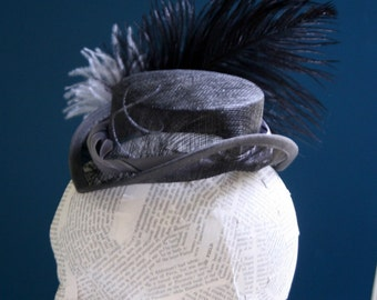Ship Captin Victorian Inspired, Pewter and Gray Accents, Mini Top Hat