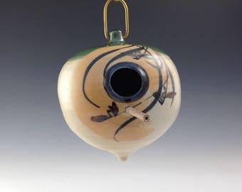 Handmade Birdhouse With Brushpainted Iris