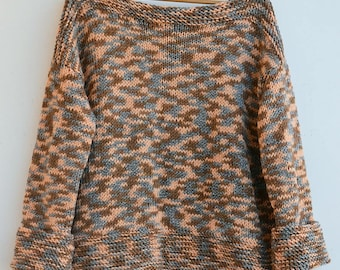Multicolor sweater, sweater oversized, loose knit, Grunge oversized,warm, loose knit boho sweater, brown, gray, peach, READY TO SHIP!