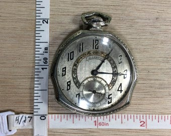 Vintage Illinois Pocket Watch 1924 No4509329 17Jewel 12S Grade 405 Unusual Shape Working Condition Used