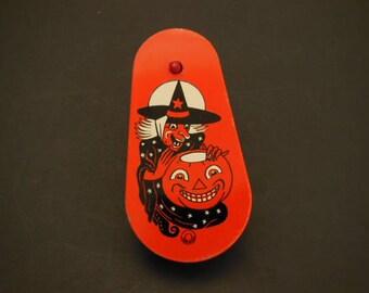 Vintage Ratchet Halloween Noisemaker Vintage Halloween Noisemaker Halloween Witch Jack O'Lantern Wood Handle Spinner Halloween Noisemaker