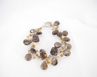 Bracelet with Smokey quartz briolettes wire crocheted  with sterling silver toggle clasp gemstone bracelet high end look, OOAK, bridesmaid