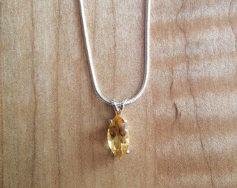 NEW REDUCED PRICE***Citrine Marquis Cut in Sterling Silver Setting