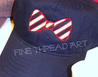 KIDS Bow Tie Baseball Cap Hat Fabric Strap Metal Buckle Youth Preppy Ball Cap Child Mint Hot Pink Navy Bowtie Stripe 4th of July America