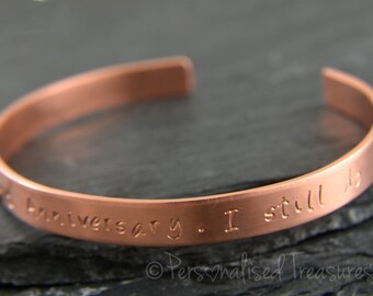 Women's personalized Solid Copper Cuff Bracelet, Copper gift for 7th wedding anniversary, Copper bracelet, Solid copper gift, Copper jewelry