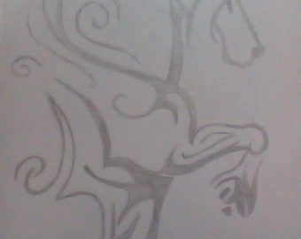 Sketch of a horse in tribal pattern