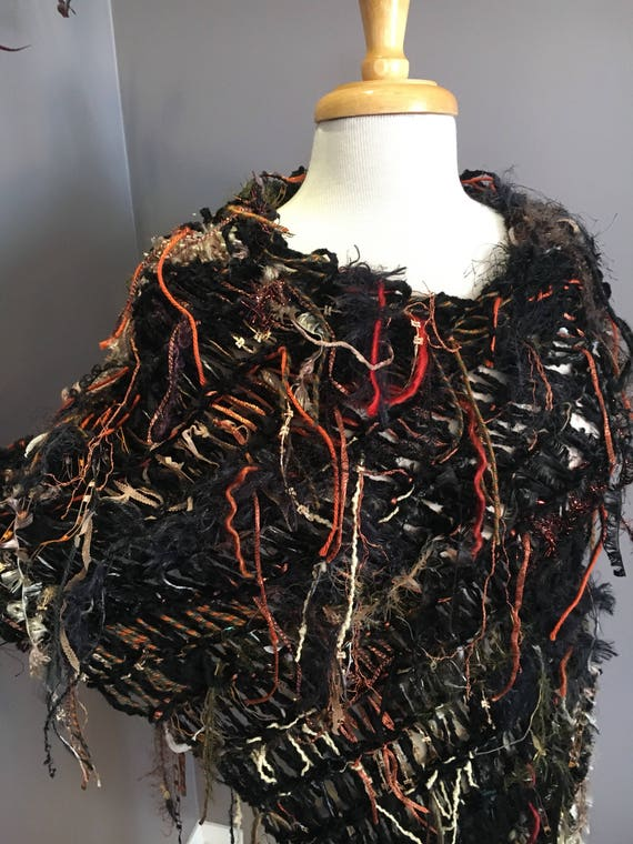 Dumpster Diva 'Full Throttle' Fringed Knit Poncho, Multitextural Black Brown Rust Gold Wrap, Poncho, chenille base