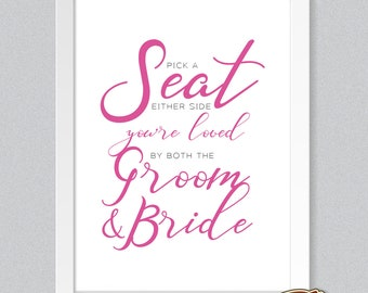 NEW! Contemporary Wedding Pick a Seat Side Sign Print A4, A3 Groom and Bride