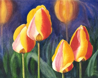 Yellow Red Tulips Watercolor Painting Print by Cathy Hillegas, 8x10 art, Floral Watercolor print, tulips art print, mothers day gift for mom