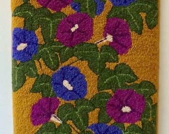 "Hand-hooked rug  ""Japanese Morning Glories"""