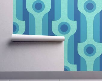 Mod Wallpaper - Mod Wallpaper Blue By Lucybaribeau - Midcentury Modern Custom Printed Removable Self Adhesive Wallpaper Roll by Spoonflower