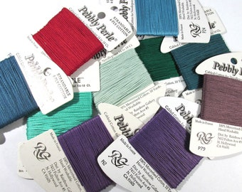 Needlepoint Embroidery Thread Ribbon Rainbow Gallery Pebbly Perle Embroidery Needlepoint Ten (10) Assorted Colors Needlework Supplies (M261)