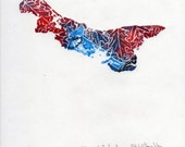 Prince Edward Island, Blue Jay and Red Oak Linocut - Lino Block Print Maps of Canadian Provinces & Territories Collection, PEI Blue Jay Oak