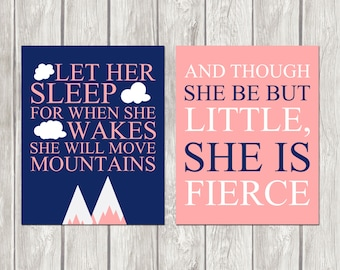 Let Her Sleep She is Fierce Navy Blue Pink White Nursery Inspirational 8x10 Wall Art Decor Print Set Digital Download