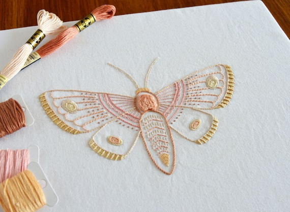 Anatomical Moth Hand Embroidery Pattern Modern Embroidery Nature