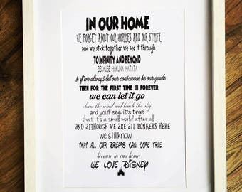 Framed Bespoke Disney Typography print with various Disney Quotes and song lyrics