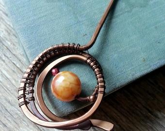 Copper hair stick hair fork spiral hair pin, metal hair fork, boho bun pin holder, wire wrap hair accessories, long hair stick copper wire