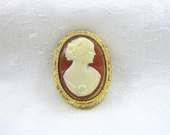 Vintage Cameo Brooch Off White Brown Goldtone