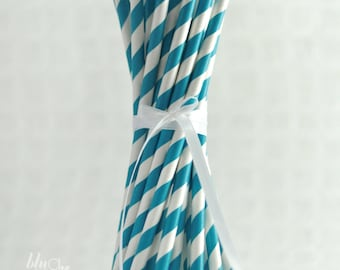 Striped Paper Straws - Turquoise