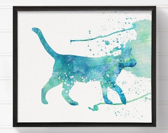 Teal Cat Painting, Cat Art Print, Watercolor Cat, Cat Wall Art, Cat Poster, Cat Illustration, Cat Lover Gift, Nursery Wall Decor, Turquoise