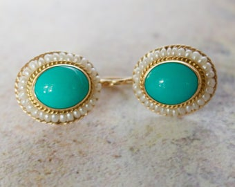 Exquisite Vintage 12x10 MM Persian Robin Egg Blue Turquoise and Fresh water Pearl in 14k Solid Gold Earrings.