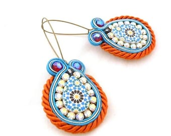 orange blue dangle drop earrings , azulejos jewelry , soutache crystal bead embroidered earrings , gift for mom , wife birthday party