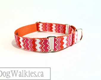 "Pink Tangerine Chevron - Zig Zag - Dog Collar - 1"" (25mm) Wide - Martingale or Side Release - Choice of collar style and size // Orange"