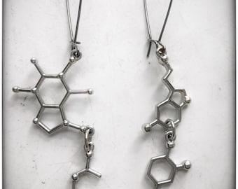 Essential Molecules Earrings - Caffeine, Serotonin, Dopamine, Acetylcholine, science jewelry nerd sleep neurotransmitter mod geo steampunk