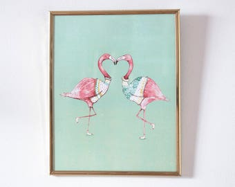 Illustration poster - flamingos in love
