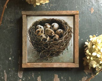 Framed Bird Nest Art Print, Bird's Nest With Eggs Wall Decor, Bird Nest Art Print, Framed Wall Art Print, Nest Art, Framed Nest Print
