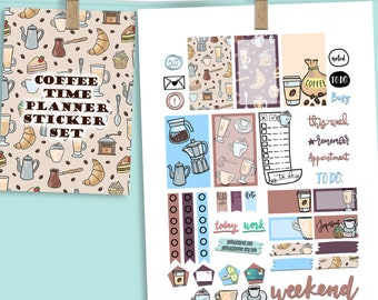 Coffee Time Theme Planner Weekly Sticker SMALL Kit, CLASSIC Happy Planner Sticker, Weekly Set, Printed, Cut, Mom, Coffee Love, Caffeine