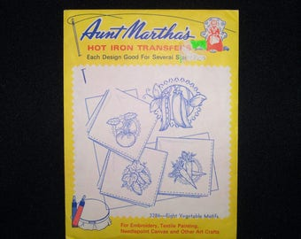 Aunt Martha's hot iron transfer 3286---eight vegetable motifs