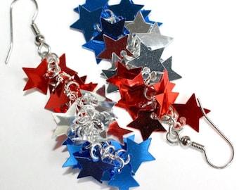 Patriotic Star Earrings Red Silver & Blue Metallic Dangles Plastic Sequin Jewelry