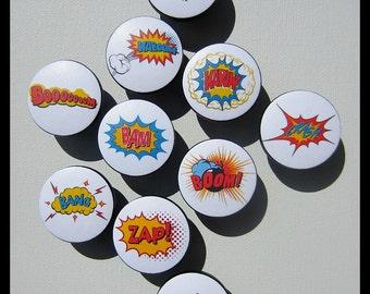 Comic Book Knobs • SuperHero Knobs • Power Word Knobs • Hero Words • Drawer Pulls • Dresser Knobs