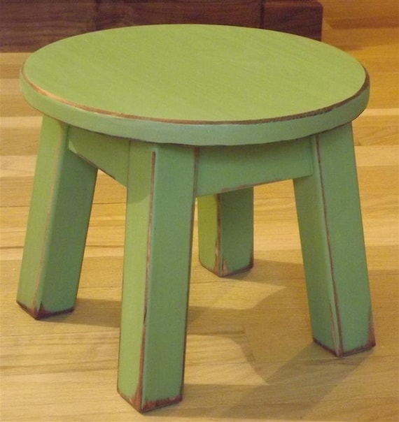 Reclaimed Wood Painted Riser Round Stool Step Stool Foot