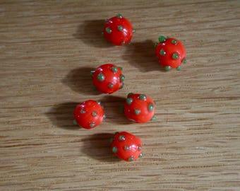Set of 2 13 mm lampwork glass beads