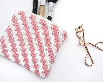 Cosmetic Bag Pink Hand Made | Cotton Bag | Toiletry Bag | Makeup Bag | Wash Bag | Travel Bag | Cosmetic Purse | Pencil Case | Gift For Her