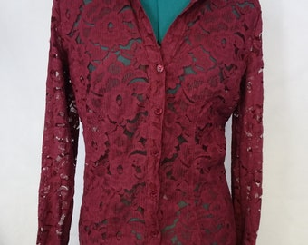 wine lace button up collar top