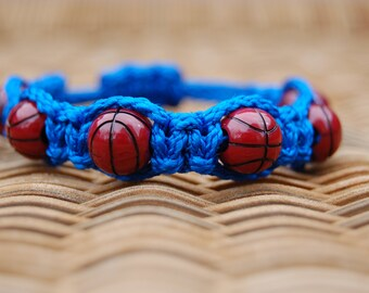 Royal Blue Basketball Bracelet  - More cord colors and sports theme options available
